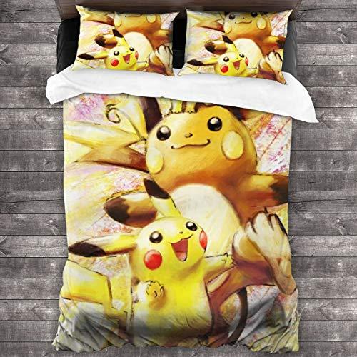 Pikachu And Raichu 3-Piece Bedding Set 86 X 70 In Two Pillowcases And One Quilt Cover