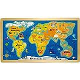 Small Foot- Rompecabezas con Marco del Mapa del Mundo, Color carbón (4240)