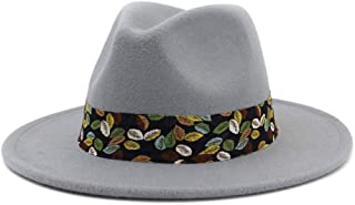 Soft Women Vintage Wide Brim Wool Felt Bowler Fedora Hat Floppy Cloche Women's Panama Hat` TuanTuan (Color : Gray, Size : 56-58)