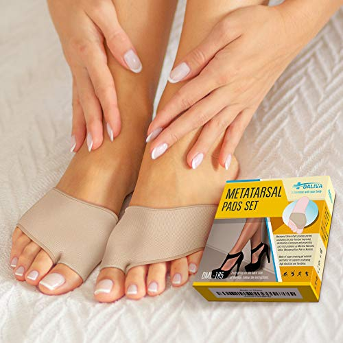 Ball of Foot Cushions (2 Pieces) - Metatarsal Pads   Forefoot Pads of of Soft Fabric - Foot Sleeve with Soft Gel Sole - Mortons Neuroma - Prevent Pain and Discomfort