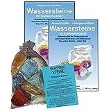EDELSTEINE für WASSER VERDAUUNG & STOFFWECHSEL 4-tlg SET. 300g WASSERSTEINE zur Wasseraufbereitung für Trinkwasser + Anleitung Wasser-Energetisierung + Booklet + Zubehör. 90045