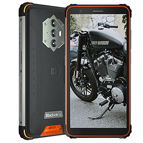 "Blackview BV6600, 5,7\"" Android 10 4G Rugged Smartphones Ohne Vertrag, 8580 mAh Akku, 4 GB RAM 64 GB ROM, 16 MP + 8 MP wasserdichte Kamera, NFC Dual SIM GPS Simlockfreie Handys FM Orange"