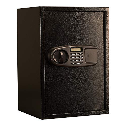 Caja de seguridad con panel LCD, contraseña electrónica, habitación de hotel, armario oculto, cajón, caja fuerte para joyas, efectivo, portátil, oficina en casa (color: negro, tamaño: talla única)