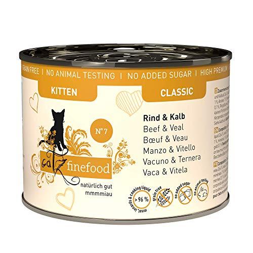 catz finefood Kitten N° 7 Rind und Kalb Katzenfutter nass - Feinkost Kitten Nassfutter für junge Katzen ohne Getreide und Zucker mit hohem Fleischanteil, 1.2 kg