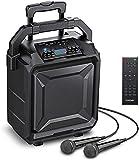 Bomaker PA System Portable,2021 Upgraded 500W Peak Power & 8'Woofer Karaoke Speaker with Bluetooth,6 EQ Mode/ECHO/Rechargeable Battery,Rich Bass/Treble/Microphone/AUX/FM/USB/Wheels & Telescopic Handle
