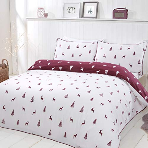 Sleepdown Stag & Trees Wine White Reversible Duvet Cover Quilt Bedding Set with Pillowcases Warm Cosy Thermal Soft Flannelette 100% Brushed Cotton - King (220cm x 230cm)