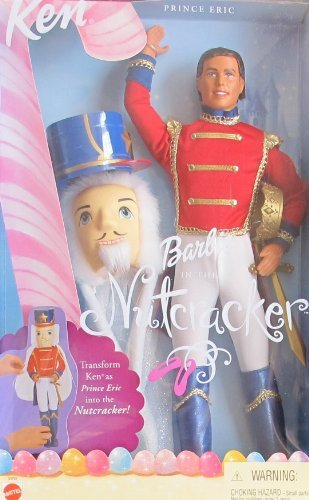 BARBIE in The Nutcracker KEN as PRINCE ERIC DOLL w MASK, Hat & More (2001)