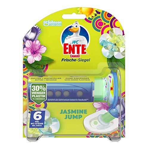 WC-Ente Frische-Siegel Starter-Set (inkl. 1 Nachfüller), körbchenloser WC-Reiniger, Jasmine Jump Duft, 36 ml