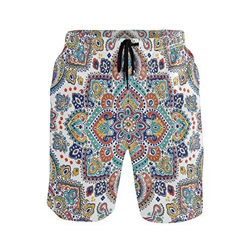 BONIPE Herren Badehose Vintage Mandala Tribal Blumenmuster Quick Dry Boardshorts mit Kordelzug und Taschen Gr. L/XL, mehrfarbig