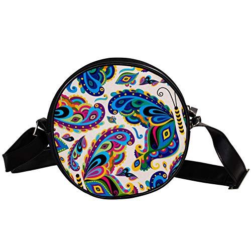 Bandolera redonda pequeña bolso de mano para mujer, bolso de hombro de moda, bolso de mensajero de lona, bolsa de cintura, accesorios para mujer, diseño de insectos de mariposa colorido