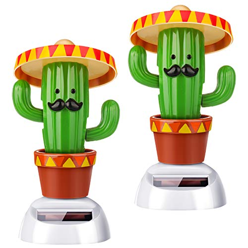 2 Piece Cactus Solar Dancing Toy, Animal Solar Powered Dancing Dolls Swinging Animated Bobble Dancer for Car Windowsill Dashboard Office Home Desk Decor
