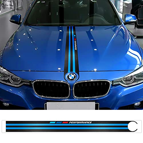 OYDDL Motorhaube Aufkleber Streifen Rennstreifen Kohlefaser Autoaufkleber für BMW Auto, mit Tuch & Abstreicher (Blau)