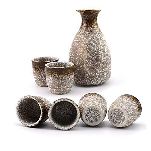 MLWTB - Service à saké en céramique de style japonais - Séparateur de vin peint à la main - Flasque de style rétro - En céramique épaisse - 7 pièces - 6 tasses