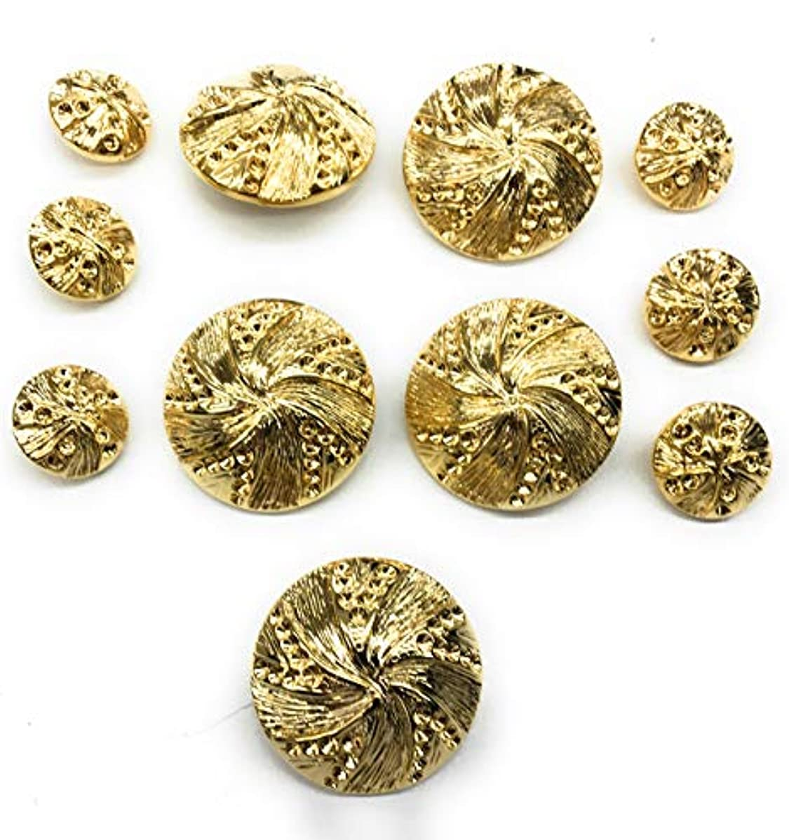14 Kt Plated Gold Fashion Buttons Set for Dress, Blazer 11pc. (