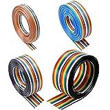 HUAZIZ IDC cinta Cable, 1,27 mm de paso Cable de cinta de color arcoíris 10 pies / 3 m, 10/14/16/20 Pin Cable color arco iris Cinta plana IDC Cable alambre para conectores de 2,54 mm