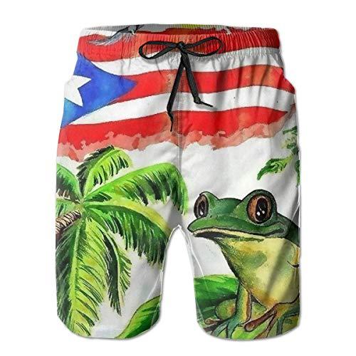 Buen sueño con la Rana de Puerto Rico, Pantalones Cortos Informales de Verano para Hombres, Ropa de Playa, Pantalones Cortos Deportivos para Nadar, Pantalones Cortos Transpirables para Surf, XXL