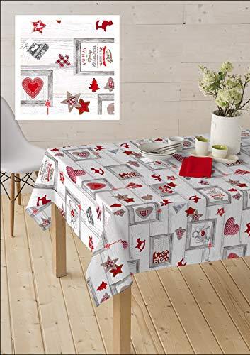 Home Imagine Mantel Navidad Antimanchas de Tela Resinada - Aure. Disponible en Varias Medidas. (140_x300_cm)