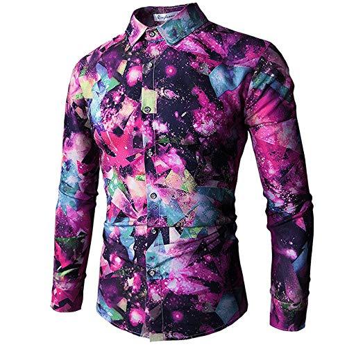 Camisa de manga larga para hombre, diseño de estrella, impresión digital 3D, color