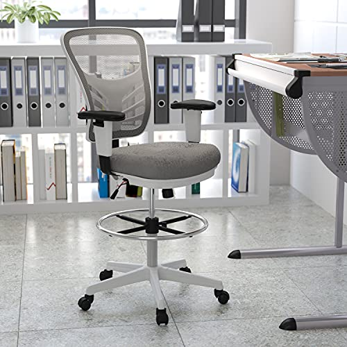 Flash Furniture Mid-Back Light Gray Mesh Ergonomic Drafting Chair with Adjustable Chrome Foot Ring, Adjustable Arms and White Frame