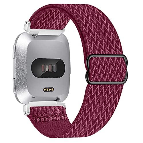Vozehui Correa compatible con Fitbit Versa Lite/Fitbit Versa 2/Fitbit versa, correa de repuesto deportiva de nailon elástico ajustable para Fitbit Versa 2/Versa Lite/Fitbit Versa, mujeres y hombres,