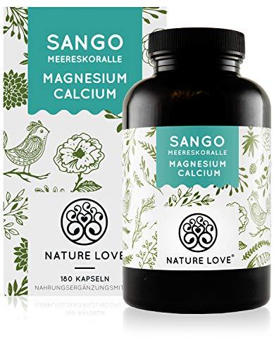 NATURE LOVE® Sango Meereskoralle - 180 Kapseln. Natürliche Quelle für Kalzium (20%) und Magnesium (10%) im körpereigenen Verhältnis von 2:1. Hochdosiert und hergestellt in Deutschland