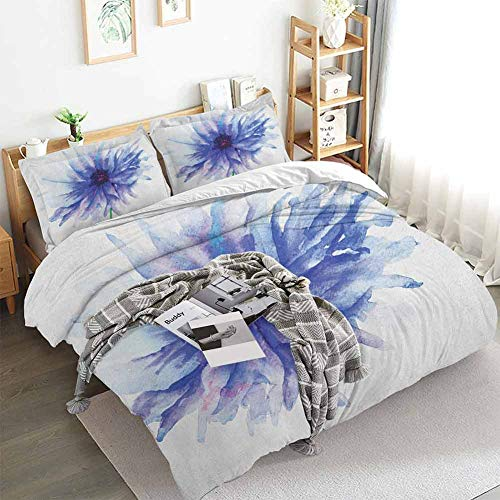 Aishare Store Watercolor Flower Duvet Cover Set,Single Large Petite Cornflower Plain Background Mother Earth Paint,Decorative 3 Piece Bedding Set with 2 Pillow Shams,Queen(90'x90') Navy Blue White