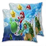 anzonto Juego de 2 fundas de almohada de diseño de Super Mario Bros Concept, decoración del hogar, coche, sala de estar, 45 x 45 cm.