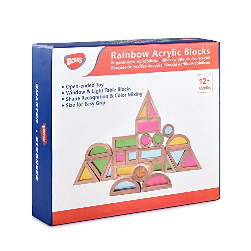 Rainbow Acrylic Blocks (24 pcs) - Wooden Toys for Toddlers- Play on Light Table/Sunny Window