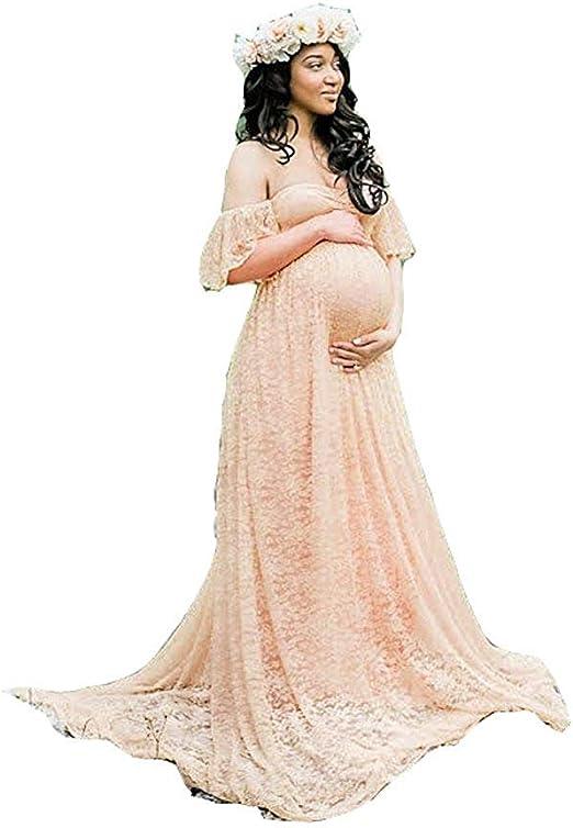 Huixin Damen Spitze Hochzeitskleid Fur Fur Schwangere Kleider Elegante Schwangere Foto Shooting Kleid Maxikleider Abschlussball Wedding Umstandsmode Womens Amazon De Bekleidung
