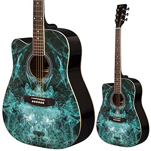 Lindo - Guitarra acústica de aprendizaje para zurdos (104 cm, incluye funda blanda), acabado satinado, color negro