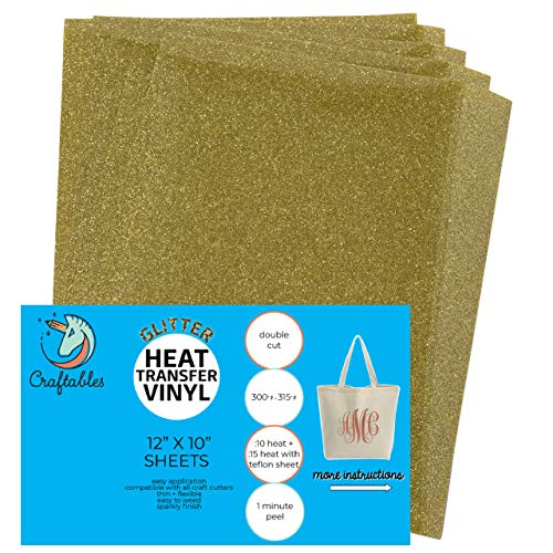 Craftables Gold Glitter Heat Transfer Vinyl, HTV - 5 Sheets Sparkling Easy to Weed Tshirt Iron on Vinyl for Silhouette Cameo, Cricut, All Craft Cutters. Ships Flat