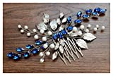 Chargances - Pettine per capelli, con strass e opali, idea regalo per donne e ragazze, per spose, colore: blu navy