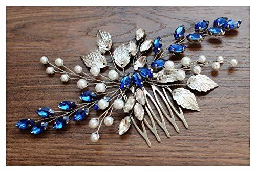Chargances Blue Bridal Hair Comb Sapphire Blue Crystal Hair Comb Wedding Rhinestone Royal Blue Hair Comb Navy Blue Bridal Hair Pinspiece Gift for Women and Girls