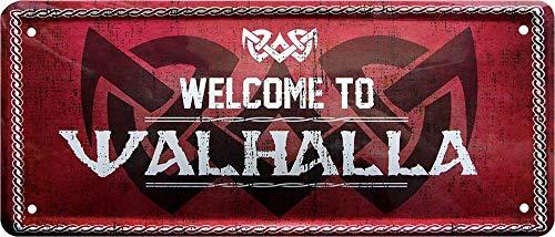 """Blechschilder Lustiger Spruch """"Welcome to Walhalla"""" Deko Metallschild Hauseingang Schild Türschild Geschenkidee Tür Witziges Geschenk zum Geburtstag oder Weihnachten 28x12 cm"""