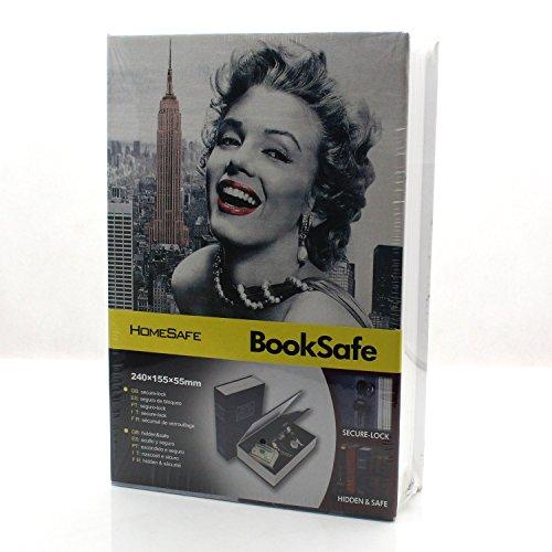 Riipoo Diversion Hidden Book Safes, B Size Marilyn Monroe Pattern Book Safe, Metal Case Inside & Key Lock, Complete Book Safe Measures 9.5 x 6.1 x 2.2 inch