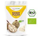 Baobab Pulver Bio von Happy Nutrition - 200g Baobabpulver hochdosiert in Bio Qualität aus reinem Bio Baobab Pulver. Absolut natürlich & bio-zertifiziert. Bio Baobab Fruchtpulver - 100% Happy!