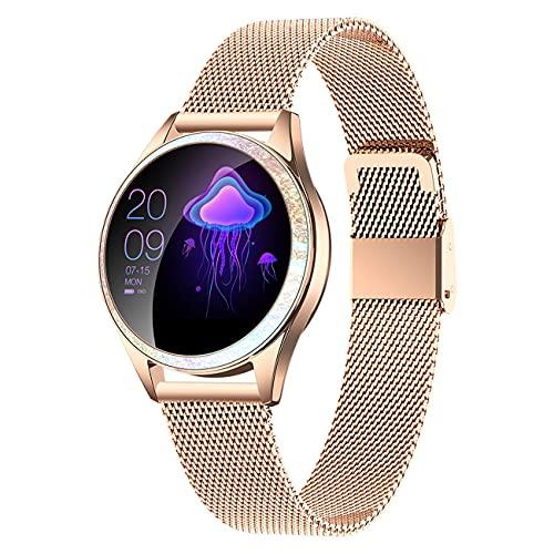 GEQWE Smartwatch Mujeres IP68 Pulsera Inteligente A Prueba De Agua Pantalla Colorida Reloj Inteligente con Podómetro Cardiovascular Reloj Despertador para iPhone Huawei Samsung Xiaomi LG,Oro
