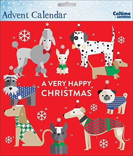 Caltime Traditionele Kerstman Paws Honden Adventskalender 23 cm x 23 cm met witte envelop