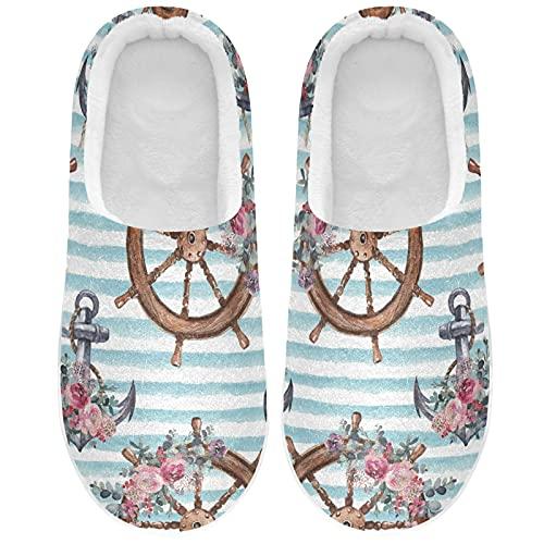 Zapatillas de ruedas con ancla náutica floral para mujer, zapatillas de casa, zapatos de interior, multicolor, 47/48 EU