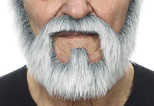 Mustaches Fake Beard, Self Adhesive, Novelty, On Bail False Facial Hair for Adults, Costume Accessory for Halloween, Gray with White Color
