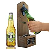 ZGZD Vintage Wall Mounted Wooden Bottle Opener with Cap Catcher, Ideal Gift for Men and Beer Lovers