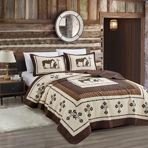 Sapphire Home 3-teiliges Bettwäsche-Set für King-Size-Betten, mit 2 Kissenbezügen, Western-Design, Wildpferd-Country/Hufeisen/Stern/Cowboy-Design, King Western Beige / Braun