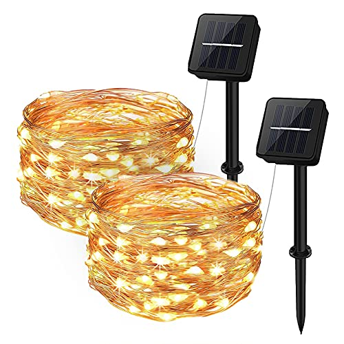 Solar String Lights Outdoor, Aifulo 100 LED 8 Modes Solar Fairy Lights, Waterproof Copper Wire String Lights, Indoor Outdoor Decorative Garden Lights for Patio, Garden, Wedding, Party, Festival,Tree