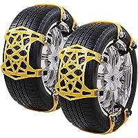 CROSOFMI Cadenas Nieve para el Coche Propósito General Fácil de Instalar Adecuado para Anchos de Neumáticos 165-285 mm(6 Piezas Amarillas)