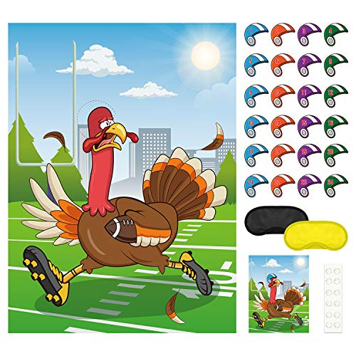 FEPITO Pin The Football Helmet auf dem Türkei-Spiel Festliche Herbst Party Aktivitäten für Geburtstagsfeier Bevorzugungen Fußball Thema Party Dekorationen