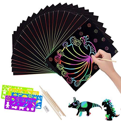 Scratch Art,Manualidades para Niños50 Hojas Dibujo Scratch Láminas para Rascar Creativas Papel para Dibujar,para Notas, Dibujos, Juegos con 5 puntas de madera y 4 reglas de dibujo y 1 sacapuntas