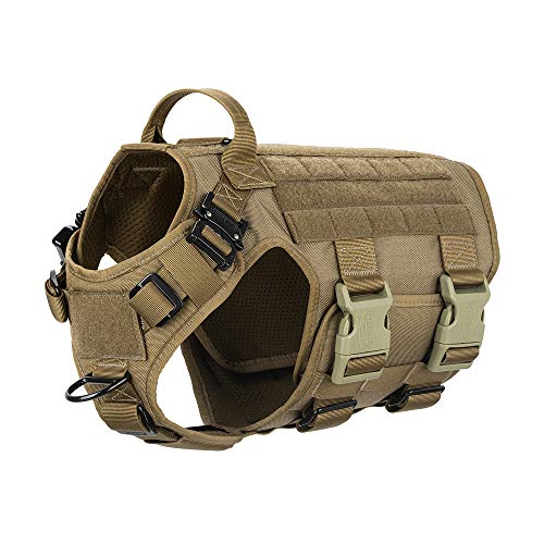 """ICEFANG Tactical Dog Harness ,Hook and Loop Panels for Patch,Working Dog MOLLE Vest with Handle,No Pulling Front Leash Clip,6 x Buckle (M (Neck:16""""-22"""" ; Chest:25""""-31"""" ), Coyote Brown)"""