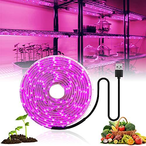 MZSG Lámpara Planta USB, lámpara Completa Planta Spectrum, para Las Plantas 5V LED Crece la luz de Tira viruta llevada de la Cinta, para Invernadero hidropónico Plantas de semillero Crecimiento, 3M