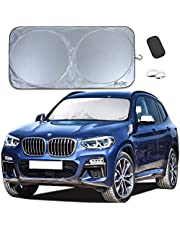 Car Sun Shade: BlizeTec Premium Windshield Protector with Blind Spot Mirrors and Dashboard Anti-Slip Pad; Sedan and SUV Friendly