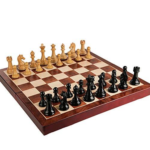 QQW Ajedrez de madera de lujo, tablero de ajedrez de gran tamaño, piezas de ajedrez, tablero de ajedrez de 55x55 cm, piezas de ajedrez de 11 cm/A